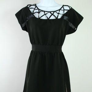 Silence + Noise black dress cut out neckline